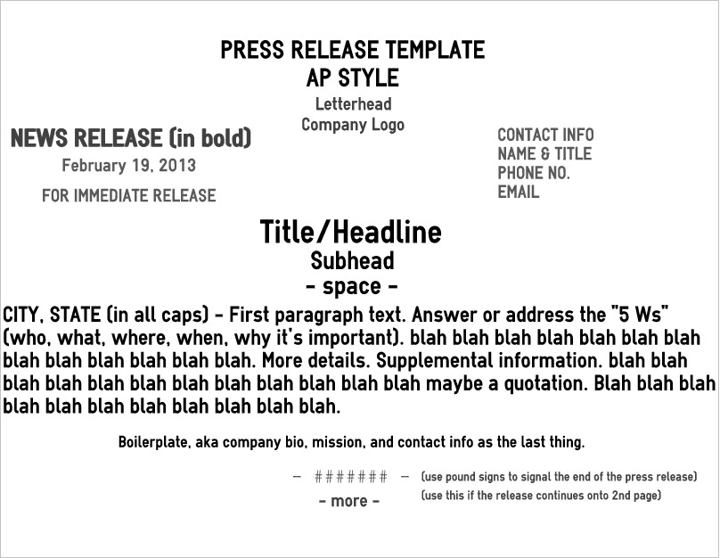Five pro tips for a rockin news release brave little nib for Ap press release template